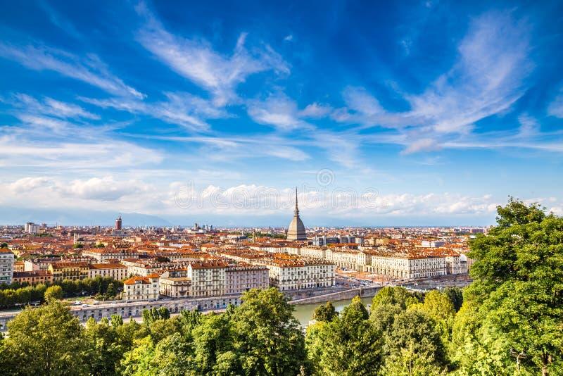 Mening van de stad centrum-Turijn, Italië van Turijn stock foto's