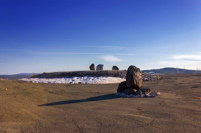 Mening van de stad van Nizhny Tagil vanaf de bovenkant van de berg stock foto