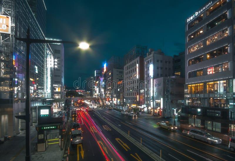 Mening van de stad in 8 September, 2013 in Sendai, Japan Sendai is een moderne stad en het kapitaal van Miyagi-Prefectuur stock fotografie