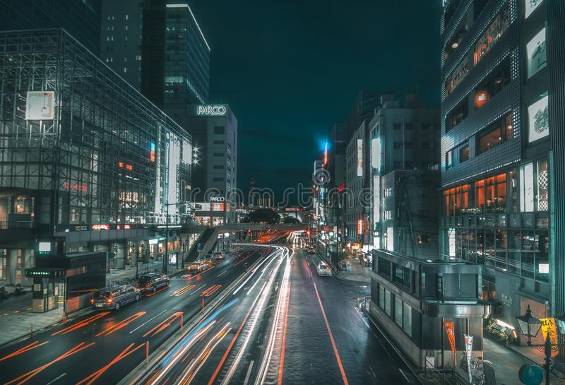 Mening van de stad in 8 September, 2013 in Sendai, Japan Sendai is een moderne stad en het kapitaal van Miyagi-Prefectuur stock foto's