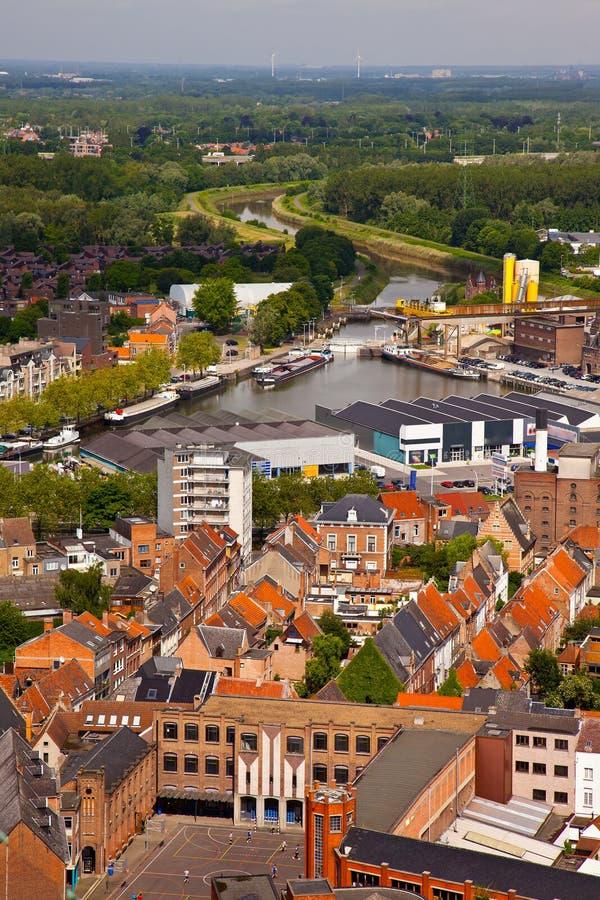 Mening van de stad van Malines (Mechelen) stock fotografie