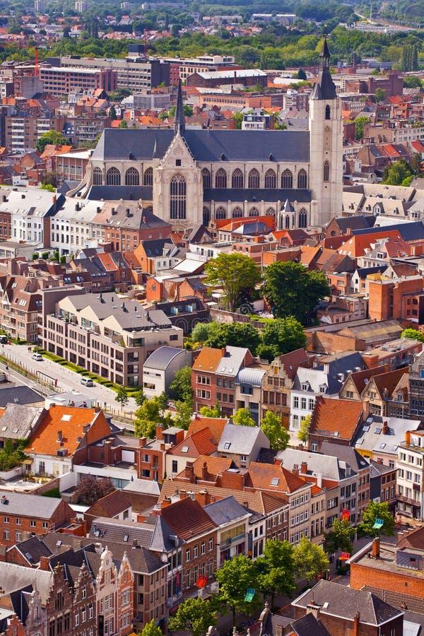 Mening van de stad van Malines (Mechelen) stock foto's