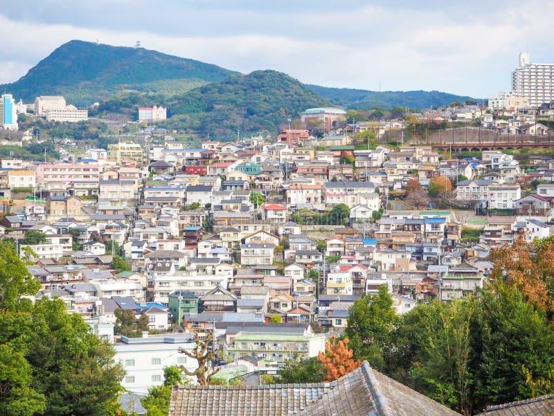 Mening van de stad van Nagasaki stock afbeelding