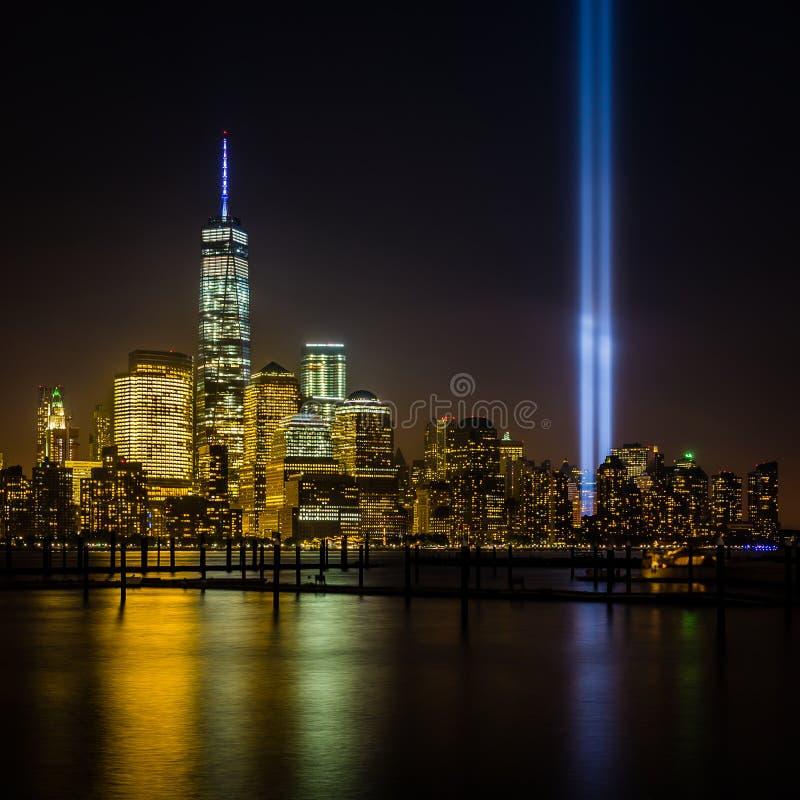 Mening van de Stad van New York van New Jersey - cityscape met inbegrip van Freedom Tower royalty-vrije stock afbeelding