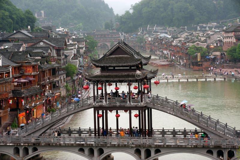 Mening van de stad van Phoenix (de oude stad van Fenghuang) royalty-vrije stock foto