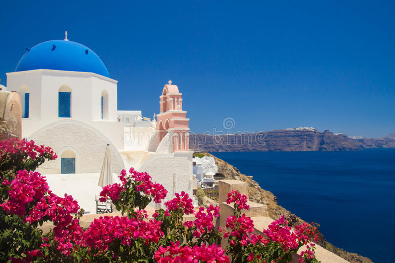 Mening van de Stad van Thira Santorini, Griekenland stock fotografie