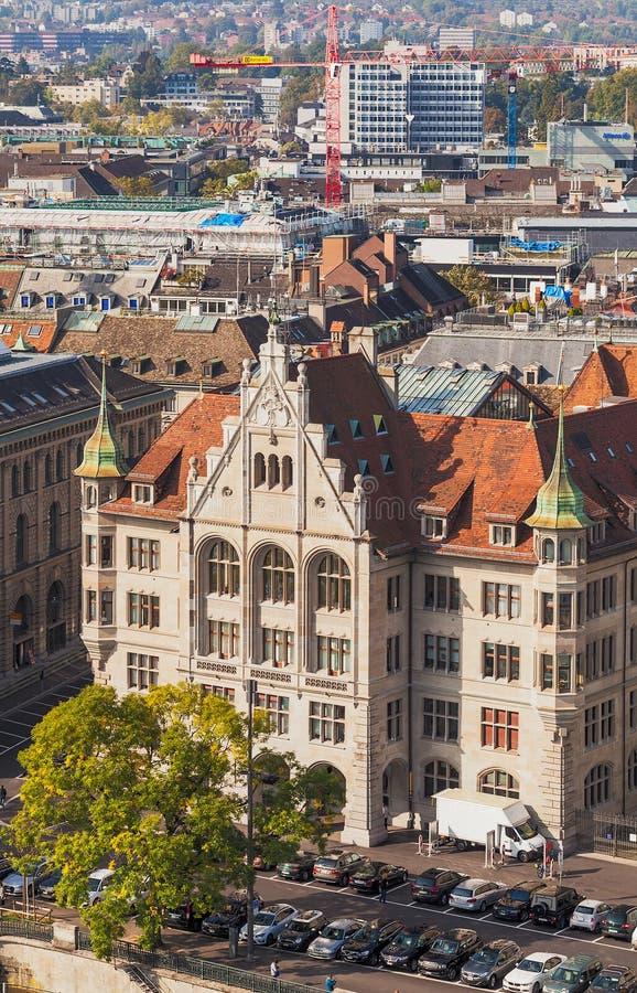 Mening van de stad van Zürich van de toren van Grossmunster-ca royalty-vrije stock afbeeldingen