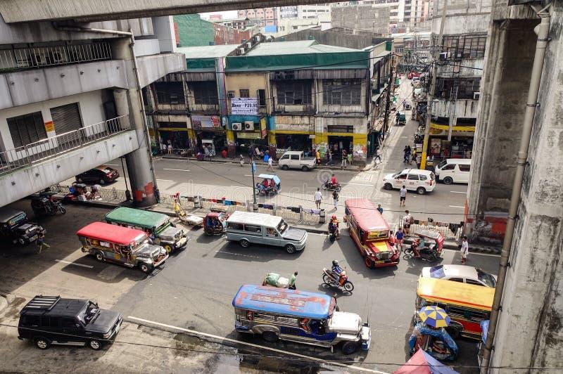 Mening van de straat in Baclaran-district, Manilla, Filippijnen stock foto