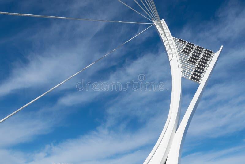 Mening van de structurele pyloon van de Flaiano-Brug in Pescara, A stock foto's