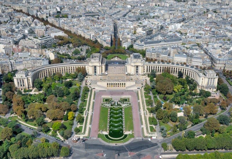 Mening van de toren van Eiffel op Trocadero stock fotografie