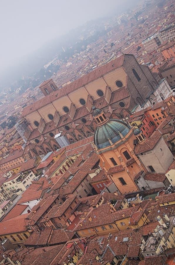 Mening van de toren van het historische centrum van Bologna Italië stock fotografie