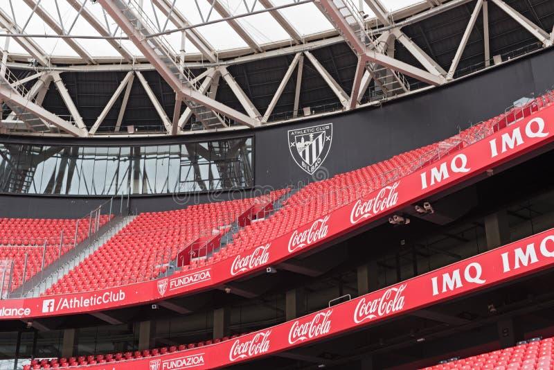 Mening van de tribunes van San Mames, voetbalstadion, huis van Athle stock afbeeldingen
