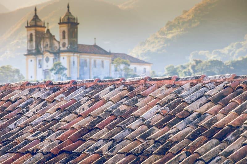 Mening van de Unesco-stad van de werelderfenis van Ouro Preto in Minas Gerais Brazil stock fotografie