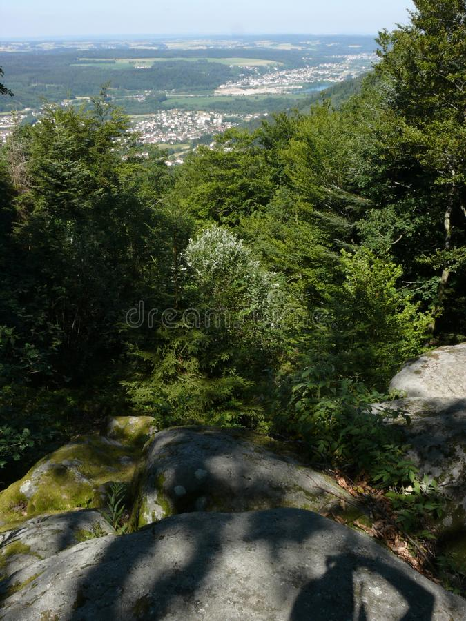 Mening van de vallei van de Moezel in de Vogezen stock afbeelding