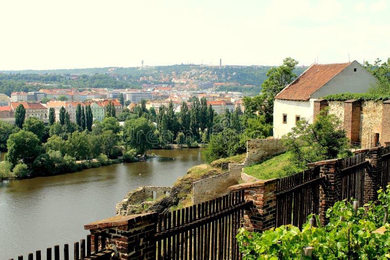 Mening van de Vltava-Rivier met Visegrad, Praag stock foto's