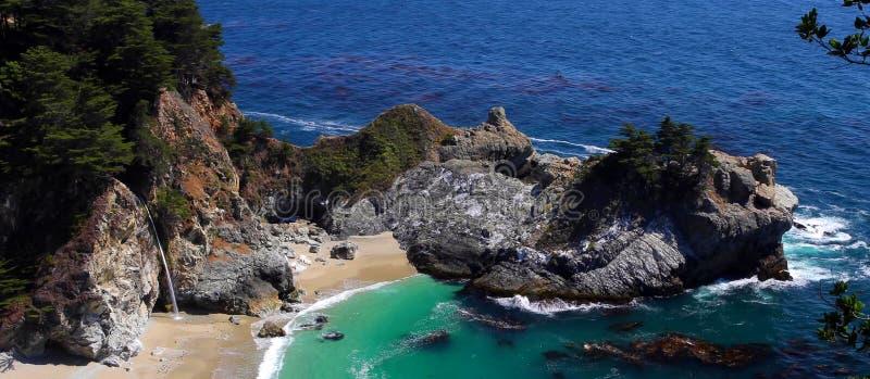 Mening van de Vreedzame Oceaan en Vreedzame Kustweg, in Grote Sur, Californië stock foto
