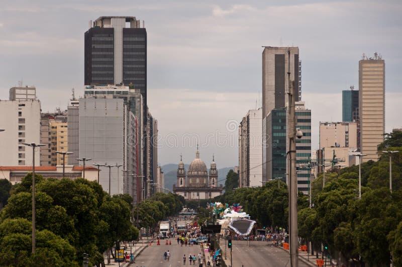 Mening van de weg van Avenida Presidente Vargas in Rio de Janeiro tijdens Carnaval royalty-vrije stock foto's