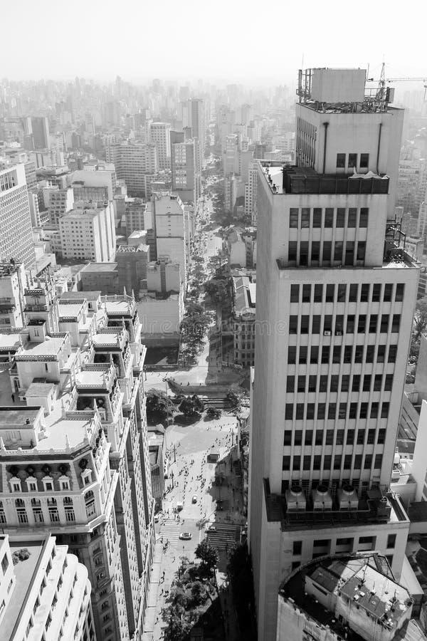 Mening van de weg van Saojoao in Sao Paulo royalty-vrije stock afbeelding