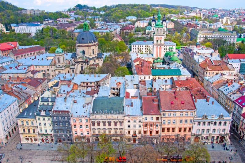 Mening van de woonwijk met hierboven huizen en straten van royalty-vrije stock foto's