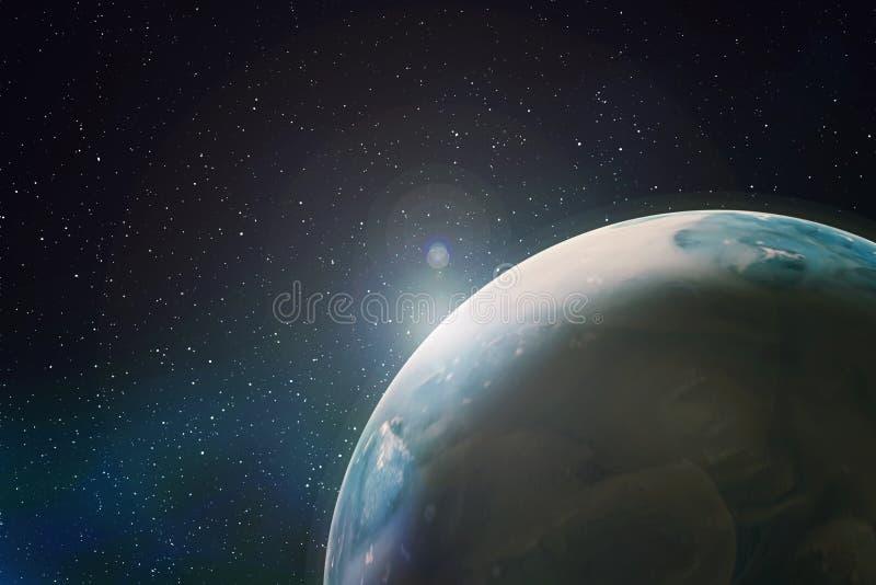 Mening van een fragment van aarde in ruimte van baan, samenvatting royalty-vrije illustratie
