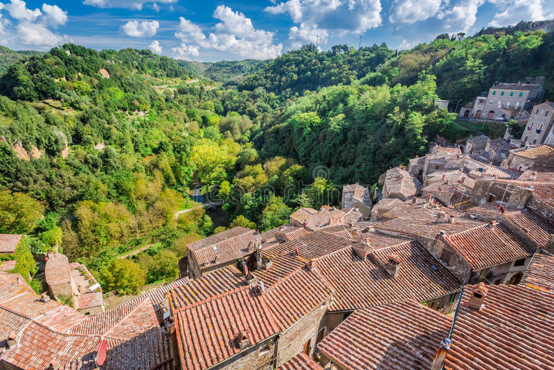 Mening van een groene vallei in Sorano over rode daken stock foto's