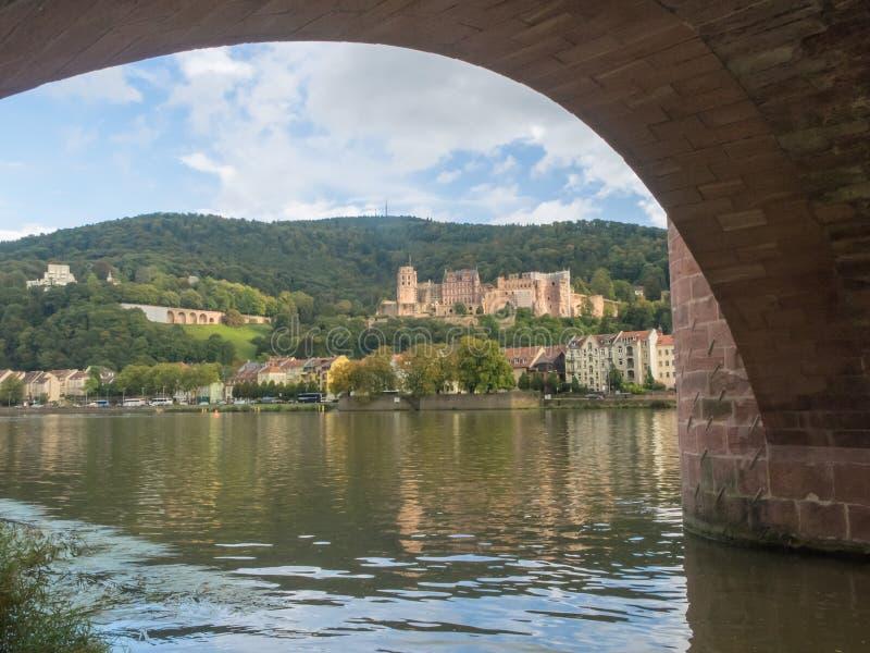 Mening van een kasteel door de boog van een brug stock foto's