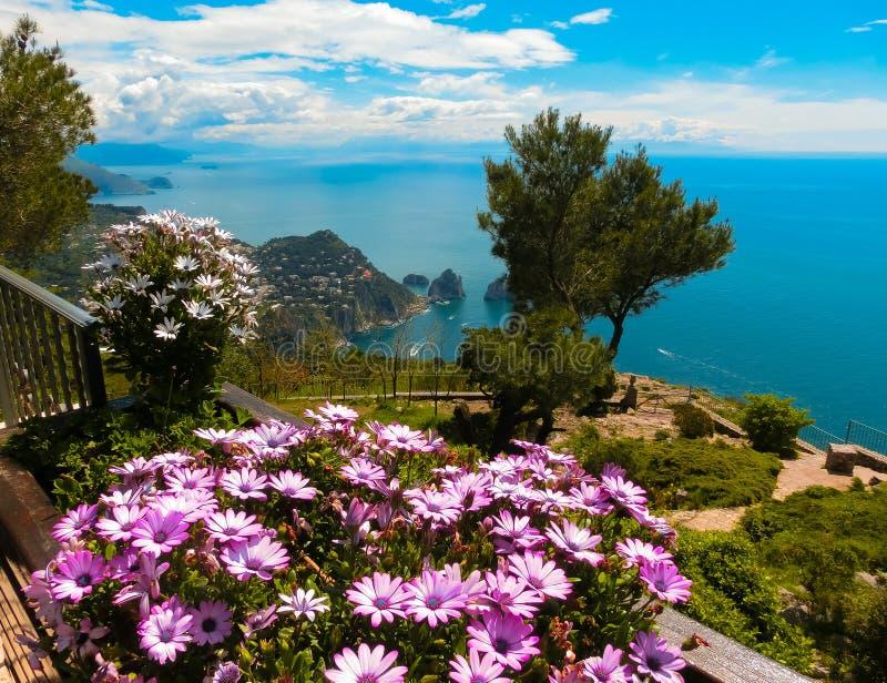Mening van een klip op het Eiland Capri, Italië, en rotsen in overzees royalty-vrije stock fotografie