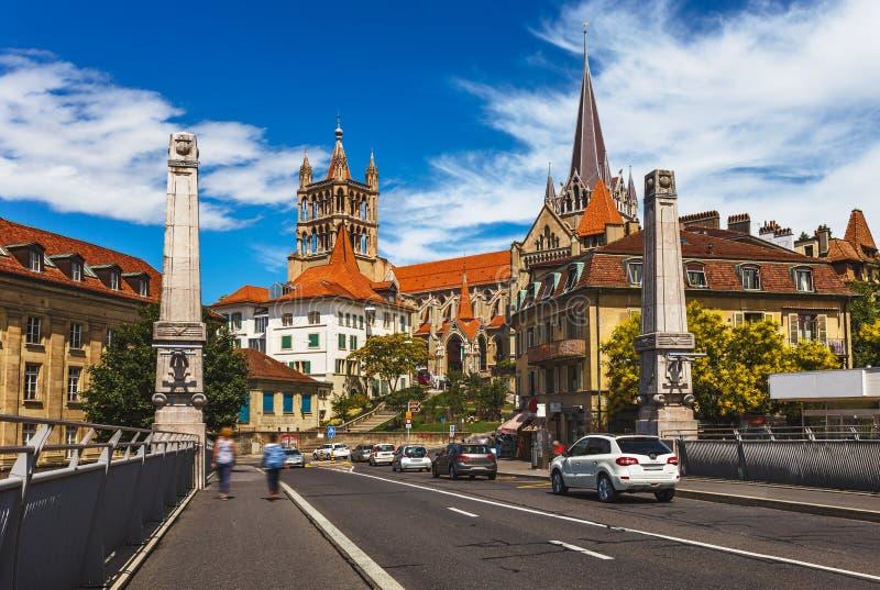 Mening van een Lausaunne van de binnenstad - Zwitserland royalty-vrije stock foto's