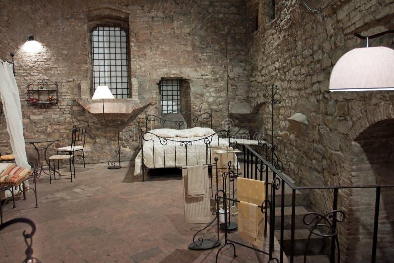 Mening van een middeleeuwse slaapkamer, Perugia stock fotografie