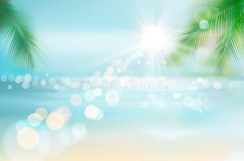 Mening van een tropisch strand Vector illustratie stock illustratie
