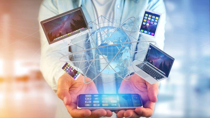 Mening van een Zakenman die een Computer en apparaten getoond o houden royalty-vrije stock afbeelding