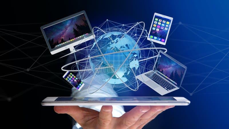 Mening van een Zakenman die een Computer en apparaten getoond o houden royalty-vrije stock foto's