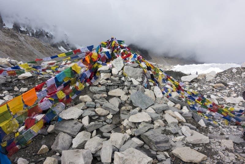 Mening van Everest-basiskamp met rijen van boeddhistische gebedvlaggen stock afbeelding