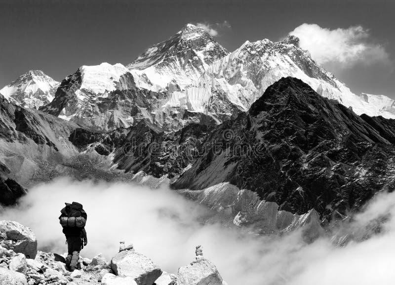 Everest van Gokyo met toerist op de manier aan Everest - Nepal stock foto's