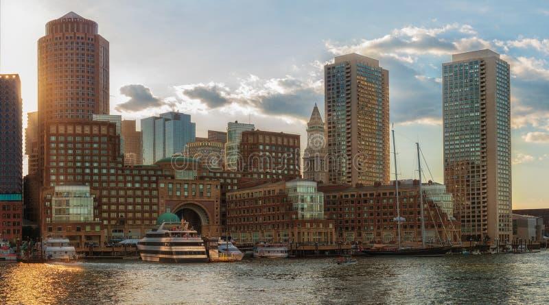Mening van Financieel District en Haven in Boston, de V.S. royalty-vrije stock fotografie