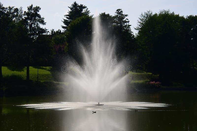 Mening van fontein, kuuroordpark, Kudowa Zdroj royalty-vrije stock afbeeldingen