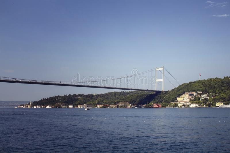 Mening van FSM-brug op Bosphorus stock foto