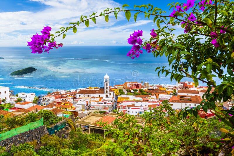 Mening van Garachico stad van Tenerife, Canarische Eilanden, Spanje stock afbeeldingen
