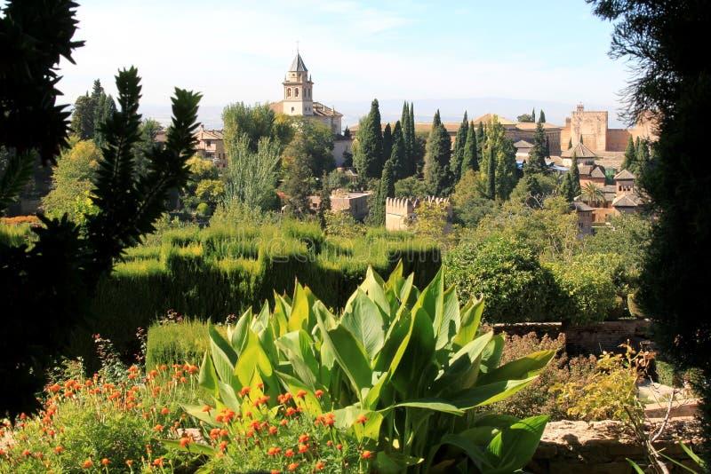Mening van Generalife, Alhambra, Granada, Spanje stock foto's