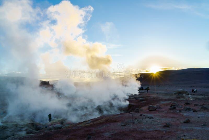 Mening van Geothermisch Gebied in Bolivië royalty-vrije stock foto's