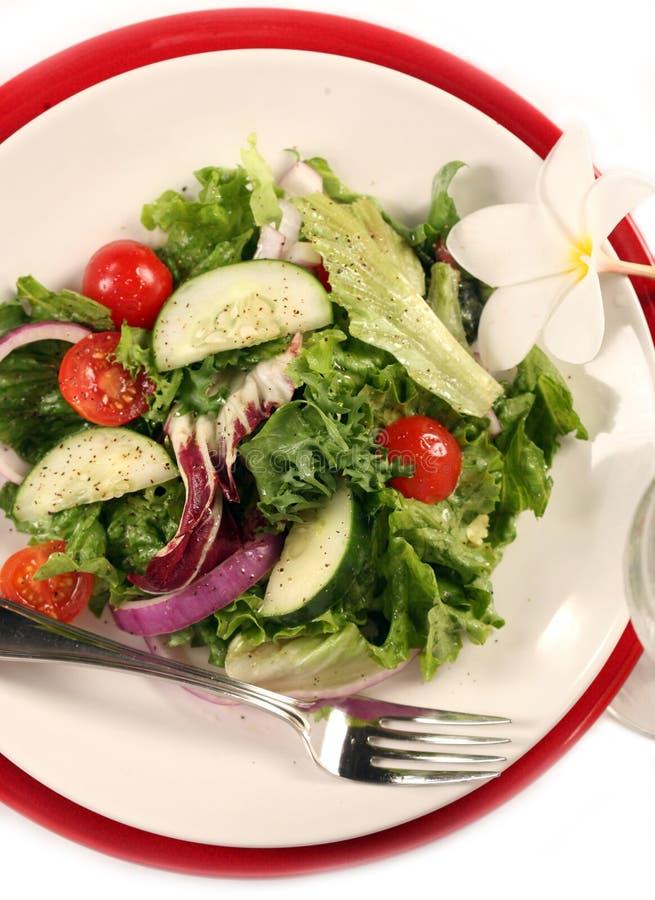 Mening van Gezonde Salade op Wit royalty-vrije stock afbeelding