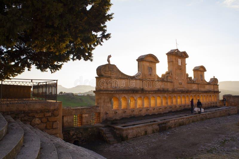 Mening van Granfonte, barokke fontein in Leonforte royalty-vrije stock foto