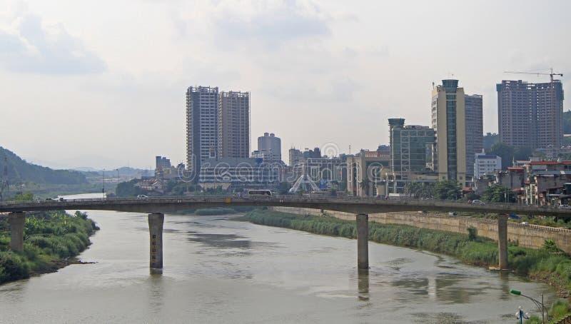 Mening van grenssteden Lao Cai en Hekou royalty-vrije stock foto's