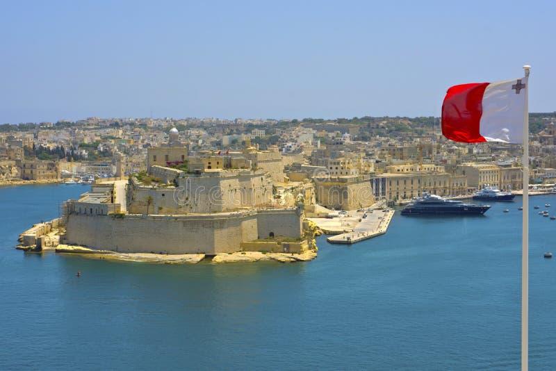 Mening van Grote Haven, Valletta, Malta. stock afbeeldingen
