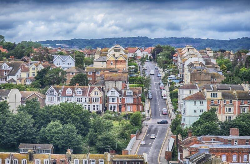 Mening van Hastings, Oost-Sussex, Engeland stock afbeelding