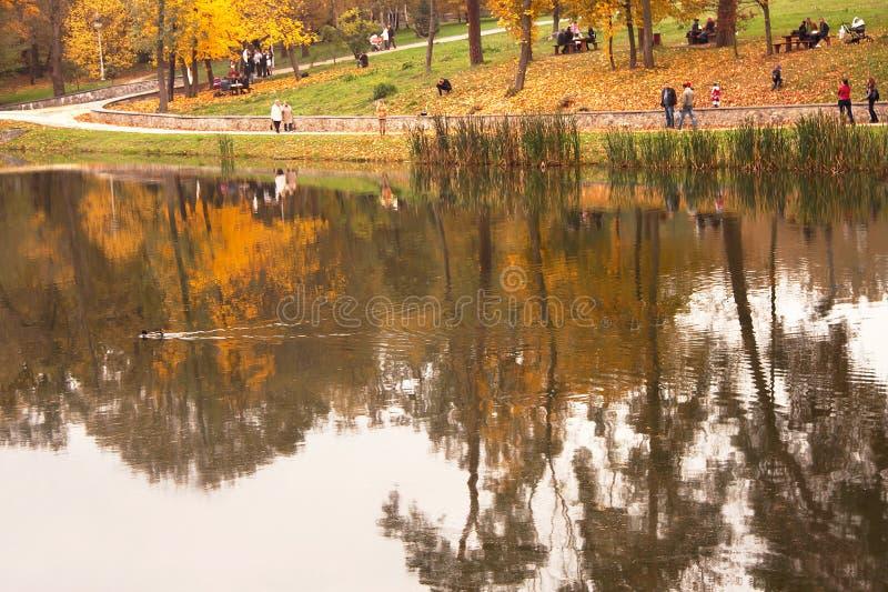 Mening van herfstpark met mensen en bomenbezinning in water stock afbeelding