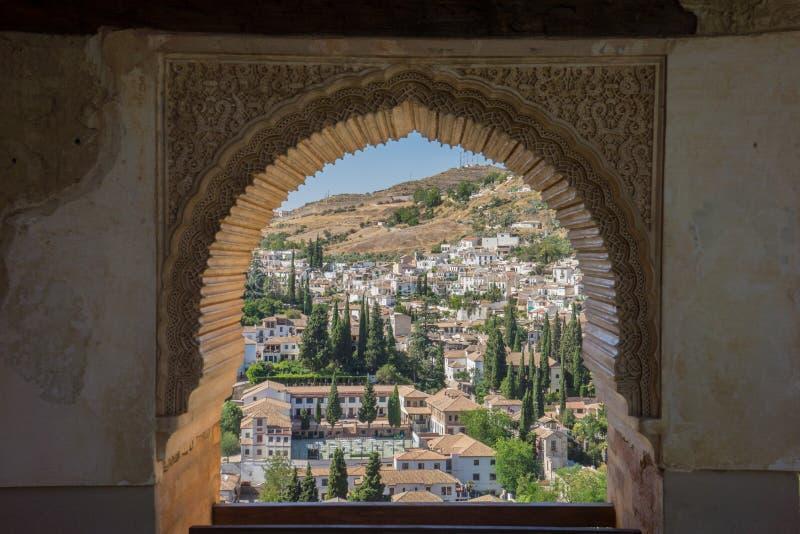 Mening van het Albayzin-district van Granada, Spanje, van een venster i royalty-vrije stock fotografie