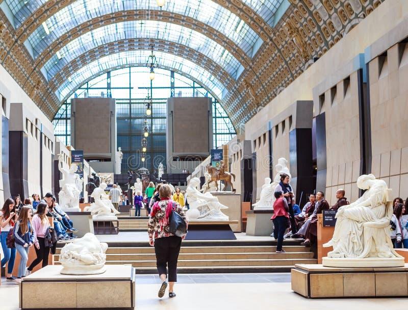 Mening van het binnenland van Musee Orsay, Parijs, Frankrijk stock afbeelding