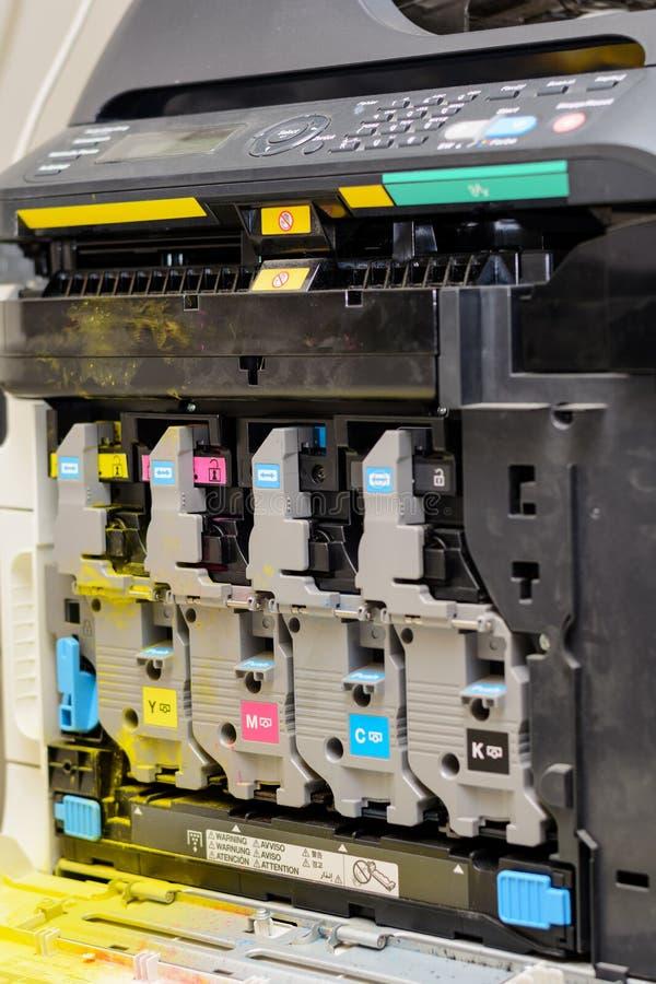 Mening van het binnenleven van een laserprinter stock foto