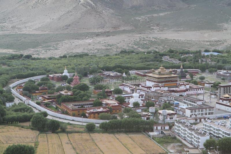 Mening van het Boeddhistische klooster Samye royalty-vrije stock foto